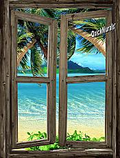 Beach Cabin Window Mural #7