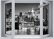 Brooklyn Bridge BW Window One-Piece Canvas Peel & Stick Wall Mural