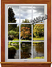 Serenity Lake Window 1-Piece Peel & Stick Wall Mural