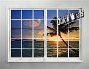 Tahiti Sunset Window Peel and Stick 1-piece Wall Mural