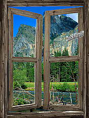 Mountain Cabin Window Mural #3
