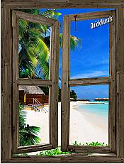 Beach Cabin Window Mural #9