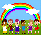 Rainbow Children Peel & Stick Wall Mural