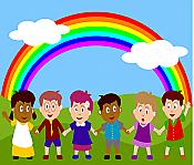 Rainbow Children Peel & Stick Wall Mural