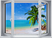 Tropical Palm Window #2 One-Piece Canvas Peel & Stick Wall Mural