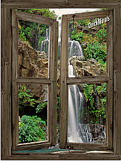 Waterfall Cabin Window #4 Peel & Stick (1 piece) Canvas Wall Mural